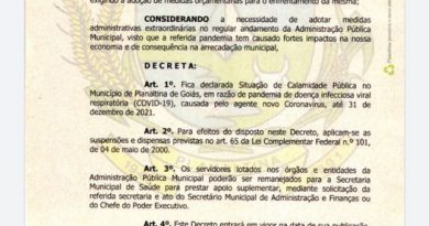 Prefeito de Planaltina-Goiás decreta estado de calamidade até 31/12/21,  devido a pandemia de coronavirus.